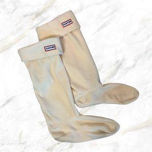 Hunter | White Fleece High Boot Socks